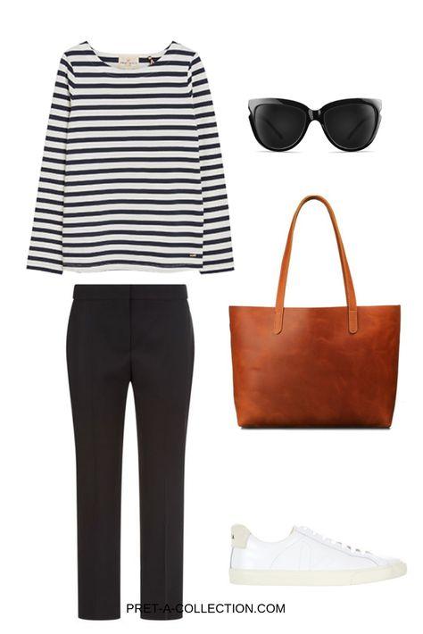 Black chinos (or denim) // Marinière // White sneakers // Tan tote // Wayfarers // Minimal mixed metal jewelry //