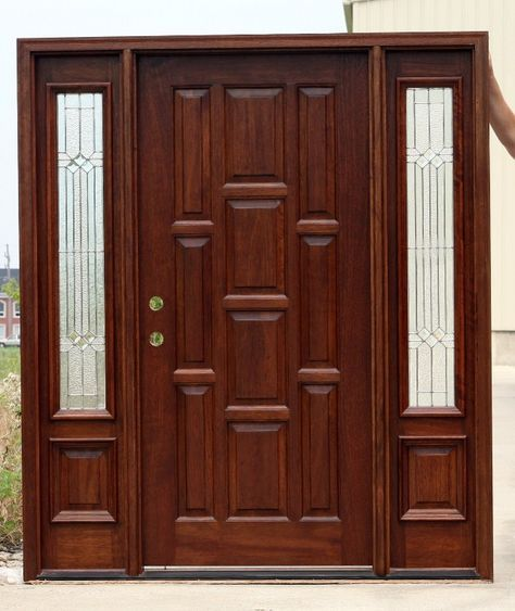 10 Panel Front Door With Sidelighthhs Pre Finished Woodenfrontdoors Doorswithsidelightsthatopenlikeadoubledoor Exteriordoubleentrydoors Wood Doors Interior