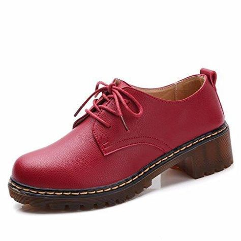 Moonwalker Zapatos con Cordones Mujer Oxford de Cuero (EUR 36,Negro)