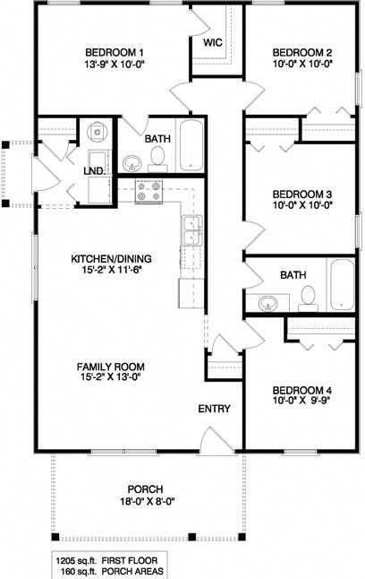 This Ranch House Plan Although Small In Size Is Large On Charm The Floor Plan F Charm Floor House In 2020 Four Bedroom House Plans House Plans Cabin House Plans