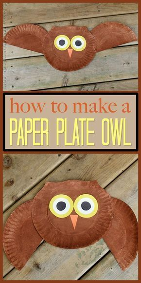 This super easy owl craft is great for young kids, even the smallest can do this with help! Make this fun paper plate owl with your kids today. # Easy Crafts fall Paper Plate Owl Craft: make a cute owl from a paper plate Paper Plate Art, Paper Plate Crafts For Kids, Fall Crafts For Kids, Thanksgiving Crafts, Holiday Crafts, Paper Crafting, Kids Crafts, Art For Kids, Craft Projects
