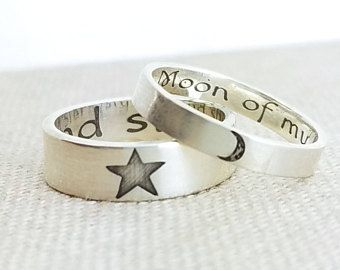 Personalized Ring Set Moon Of My Life My Sun And Stars Wedding Rings Game Of Thrones Khaleesi Eternity Ring Star Wedding Band Moonstone Engagement