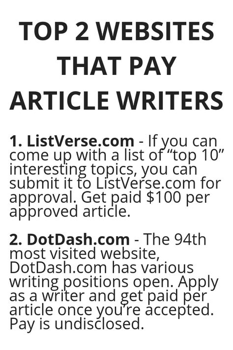 TOP 2 WEBSITES THAT PAY ARTICLE WRITERS