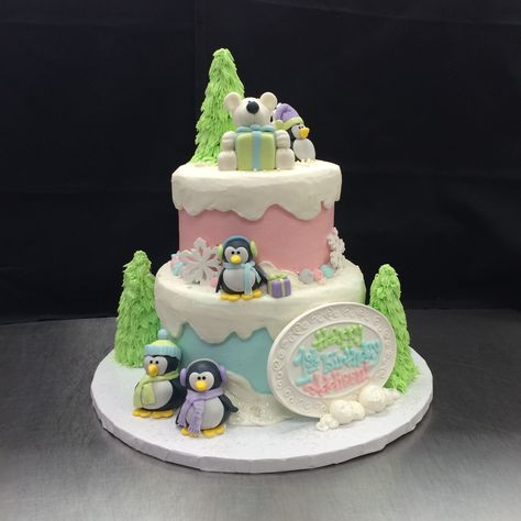 Winter Wonderland One-derland cake with fondant sculptures.  Cake by Stephanie Dillon, LS1 Hy-Vee