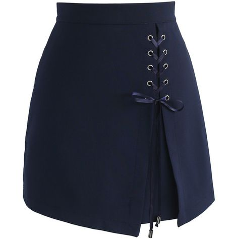 Chicwish Lace-up Obsession Bud Skirt in Navy (€31) ❤ liked on Polyvore featuring skirts, blue, chicwish skirt, lace up skirt, navy skirts, blue skirt and navy blue skirt