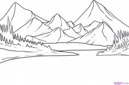 61 Trendy How To Draw Mountains Simple Mountain Drawing Landscape Sketch Landscape Drawing Easy