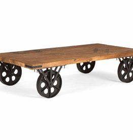 Massiv Holz Tisch Industrie Design Holzpaletten Rolltisch Couchtisch Massivholz