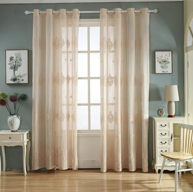 Light Rust Colored Curtains Solid Beige Luxury Sheer Romantic