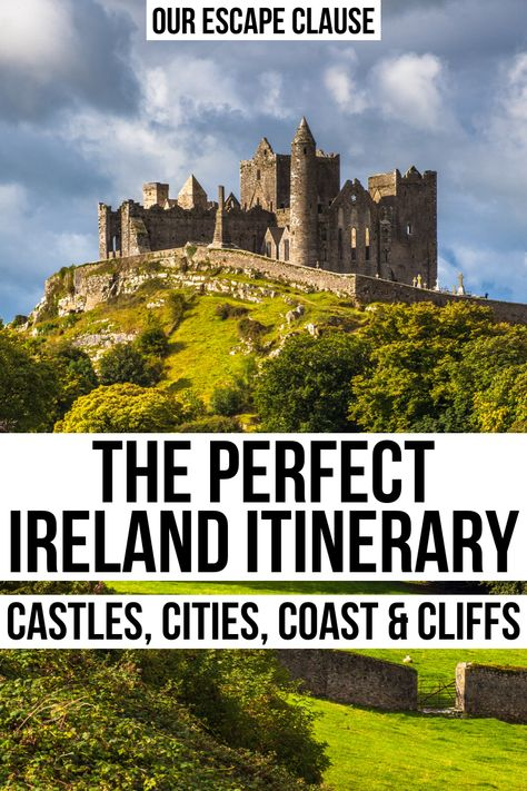 ireland travel Looking for the perfect Ireland itinerary From Irish castles to colorful cities to adorable towns to dramatic cliffs, this Ireland road trip itinerary will show you the best of the island! Fairy Pools, Ireland Travel Guide, Castles In Ireland, Book Of Kells, Leaving Home, Ireland Vacation, Honeymoon In Ireland, Roadtrip, Vacation Places