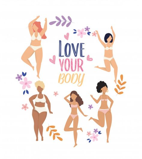 Happy girls with underclothes and branch... | Free Vector #Freepik #freevector #people #flowers #love #beauty