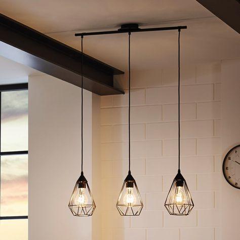 Suspension barre 3 lumières en fil de métal noir longueur 79cm Tarbes