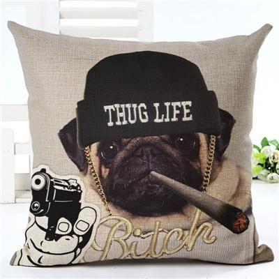 """18/"""" Pug Print Throw Cushion Cover Pillow Case Sofa Car Home Decor"""