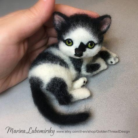 Tuxedo Cat Black And White Kitten Needle By Goldenthreaddesign Felt Cat Needle Felted Cat Wool Cat