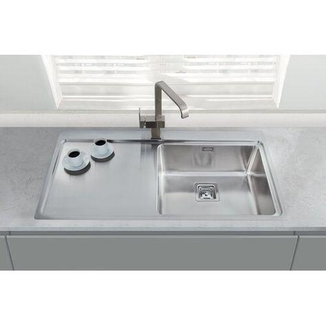 Minimalist 100cm X 52cm Single Bowl And Drainer Right Hand Main Bowl Kitchen Sink Belfry Kitchen Single Bowl Kitchen Sink Sink Sink Taps