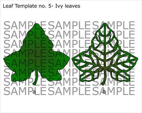 Svg And Pdf Printable Digital Leaf Template 5 Ivy Leaf