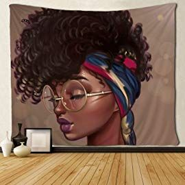SARA NELL Tapestry African American Women Graffiti Art Afro Queen Tapestries Hippie Art Black Art Wall Hanging Throw Tablecloth 50X60 Inches for Bedroom Living Room Dorm Room