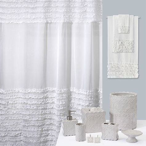 Creative Bath Scalloped Toothbrush Holder Fabric Shower Curtains