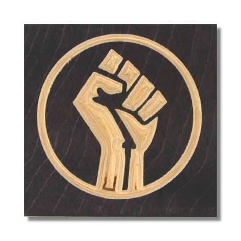 BLM Fist Carved Wooden Art - 12 x 12