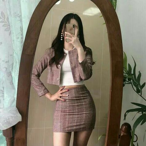 red checked plaid blazer skirt white crop top korean fashion ulzzang 얼짱 formal outfits clothes spring summer autumn winter street occasion aesthetic soft minimalistic kawaii cute g e o r g i a n a : c l o t h e s