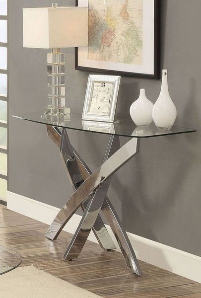 Laila Chrome Metal Tempered Glass Sofa Table By Furniture Of America Sofa Table Furniture Of America Mirrored Console Table
