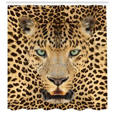 East Urban Home Leopard Shower Curtain Set Hooks Cat Shower