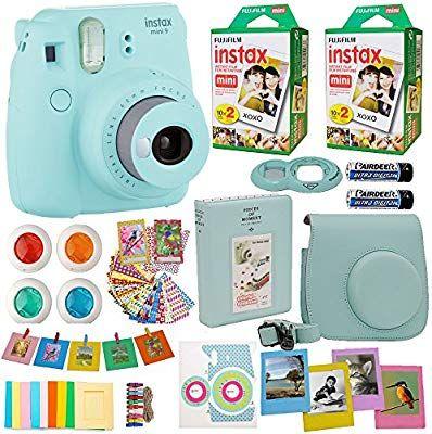 Fujifilm Instax Mini 9 Instant Camera Ice Blue 2x Fuji Instax Film Twin Pack 40pk Blue Camera Cas Fujifilm Instax Mini Instant Camera Instax