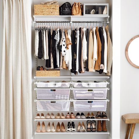 White Elfa 4 Reach-In Closet Small Closet Space, Reach In Closet, Open Closets, Dream Closets, Small Closet Design, Small Spaces, Tiny House Closet, Front Closet, Elfa Closet