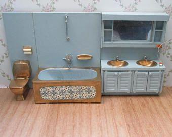 Vintage Lundby Modified Duck Egg Blue And Gold Bathroom Suite Bath Sink Unit Toilet Vintage Bathroom Sinks Lundby Dollhouse Furniture