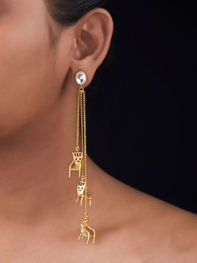 Gold Toned Brass Multilayered Chair Earrings Jewelry Vendor Beaded Jewelry Online Accessories