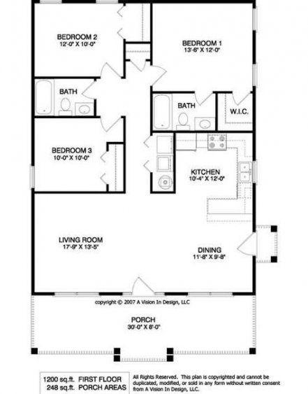 New House Plans 1200 Sq Ft Bath Ideas Small House Floor Plans