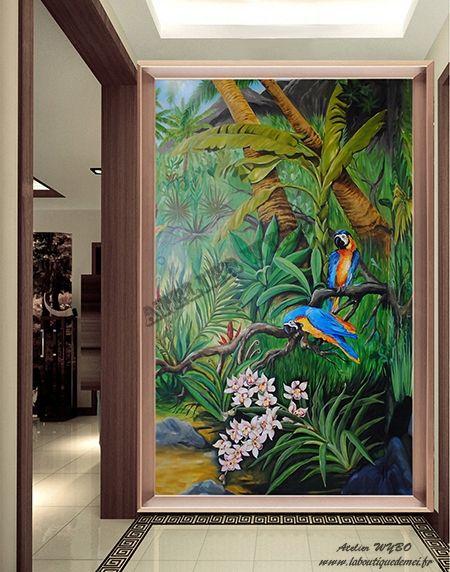 Paysage Tropical Format Vertical Les Perroquets Dans La Jungle