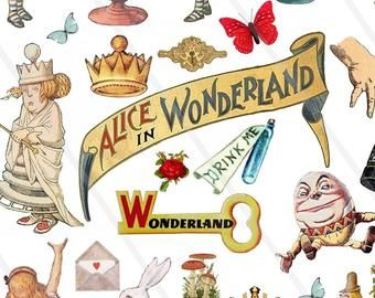 Alice In Wonderland Clipart Alice Clip Art Watercolor Mad Hatter Tea Party Eat Me Drink Me White Rabbit Key Illustration Png File Jpeg File Alice In Wonderland Clipart Alice In Wonderland