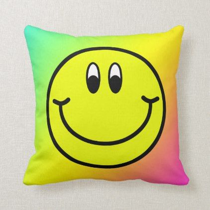 Happy Smiling Face Emoji Rainbow Throw Pillow | Zazzle com in 2019