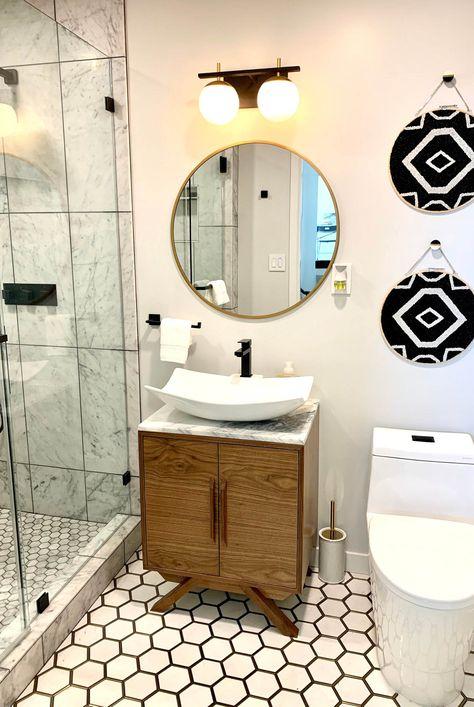 Mid-Century Wood Bathroom Vanity