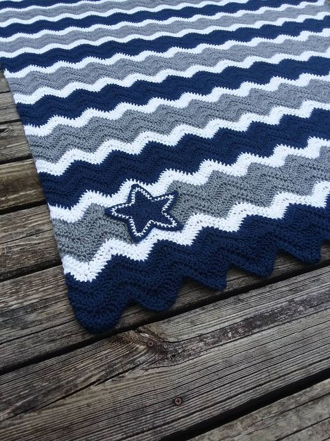 Dallas Cowboys Crochet Chevron Blue, Grey and White Blanket - Multiple Sizes Available - Ripple Knit Navy Blue and Gray Afghan Photo Prop by scarletngreycrochet on Etsy