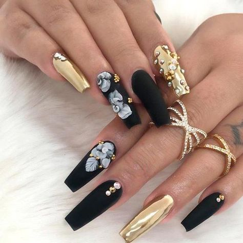 List of Pinterest acrylics nails matte black gold polish