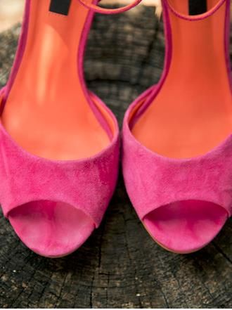 Hot pink suede peep-toes! Love these shoes. {Hearts and Horseshoes Photography}