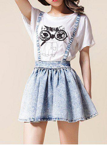 Denim Suspender Skirt