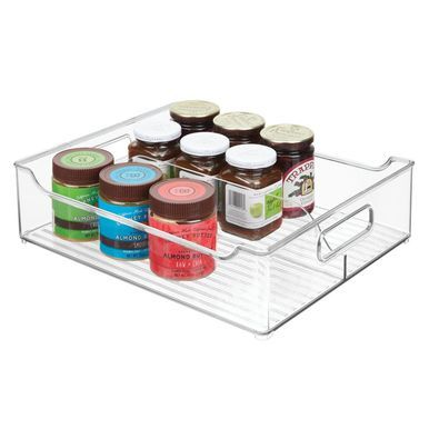 Divided Plastic Kitchen Pantry Food Storage Bin 14 5 X 12 X 4 Food Storage Kitchen Pantry Kitchen Pantry Storage