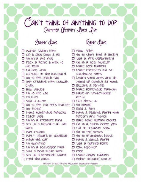 Summer Activity Idea List - indoor and outdoor activities