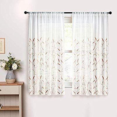 Amazon Com Mrtrees Sheer Curtains Leaves Embroidered Living Room