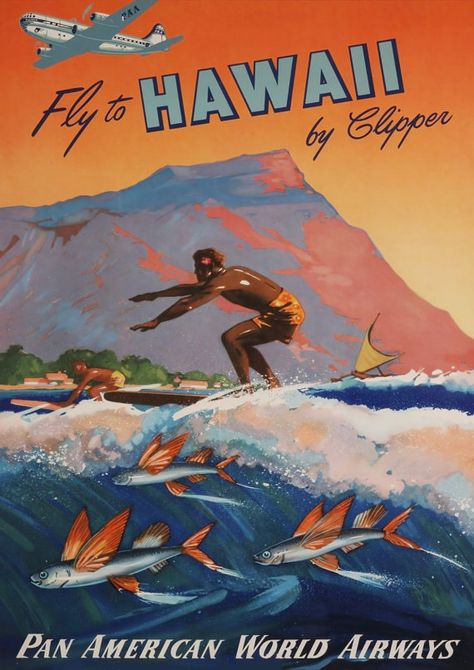 Hawaii Surf Print Vintage Travel Advert Surfing Art Poster In