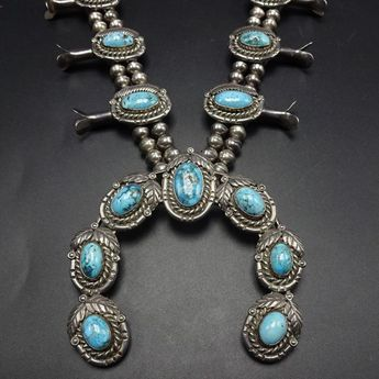 7be1aabe4 Vintage Navajo Turquoise Silver Squash Blossom Necklace -- Estate Jewelry -  JMNK4500