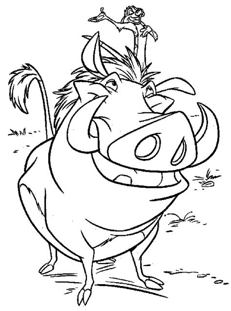 Lion King Timon And Pumbaa Coloring Page Adult Coloring