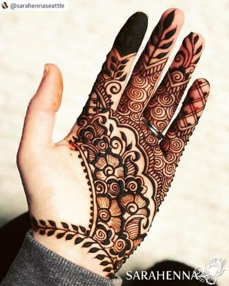 Simple Flower Easy Henna Design Only Palm for Girl with
