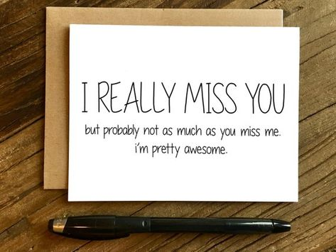 Funny I Miss You Card - Missing You Card - I Really Miss You.