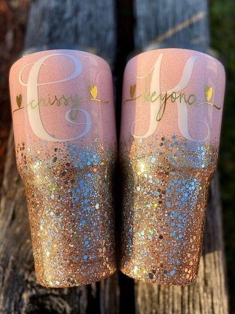 Glitter Cups, Rose Gold Glitter, Glitter Tumblers, Vinyl Tumblers, Custom Tumblers, Cute Cups, Tumbler Designs, Personalized Cups, Monogram Fonts