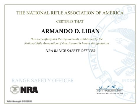 NRA Range Safety Officer Certificate. We offer Gun Safety Courses ...