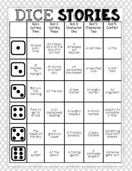Dice Stories Learning To Write The Easy Way Teaching Writing Creative Writing Lesson Writing Lessons