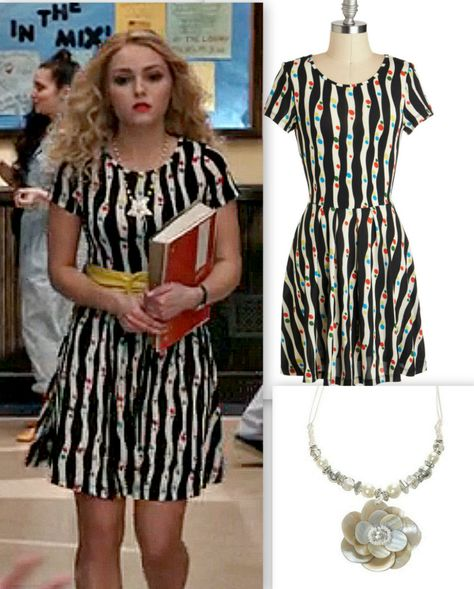 The budget style guide to Carrie's Striped Dress outfit in S1E13 of the Carrie Diaries